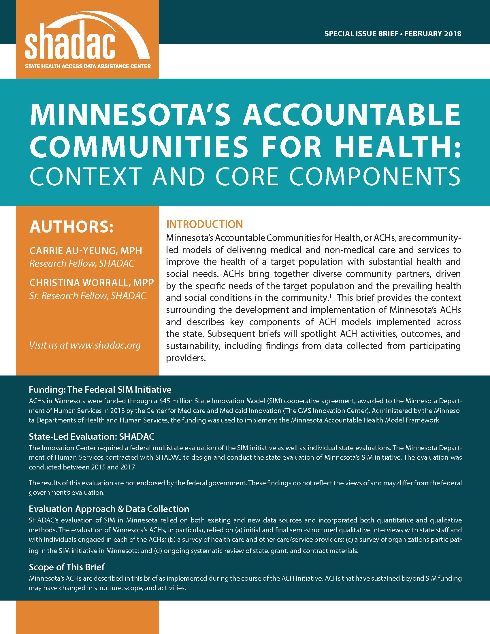 Shadac Brief Examines Minnesotas Accountable Communities For Health