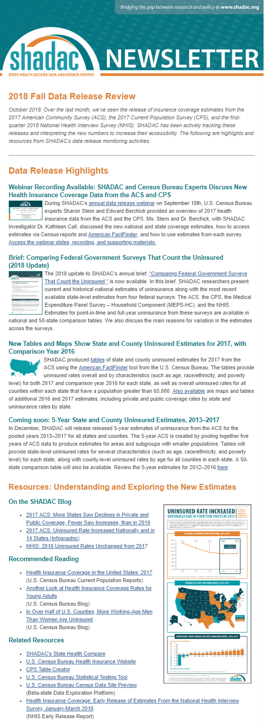 SHADAC Newsletter — 2018 Fall Data Release Review | SHADAC
